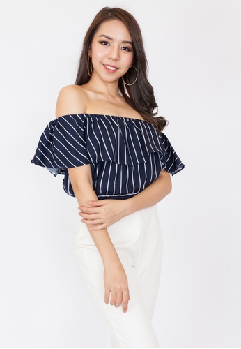 d52b5c1b58e0 Hook Clothing white and navy Tiered Striped Off Shoulder Top  E475FAA91B2E53GS_1