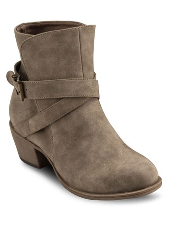 Louiseesprit hk分店 扣環雙帶短靴, 女鞋, 靴子