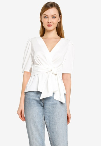 Forever New white Paige Cotton Tie Top 497DAAAE8F96EAGS_1