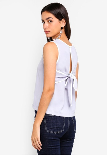 ZALORA grey Back Bow Detailed Top 825B3AAEEA6446GS_1