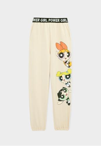 Pomelo beige The Powerpuff Girls High Waist Sweatpants - Beige 9A8B8AA21ECCCCGS_1