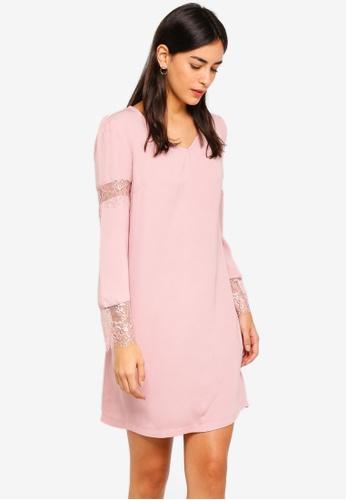 ZALORA pink Lace Panel Long Sleeves Dress 89F41AA73BAF2BGS_1
