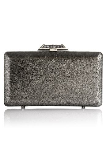 The Chic Initiative grey and silver Tamara Metallic Leather Clutch (Pewter) TH778AC0T0ODMY_1