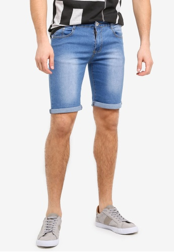Fidelio blue Strechable Funky Washed Denim Shorts A8DCAAAD83A1CFGS_1