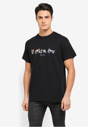 Topman black Black Legacy Print T-Shirt TO413AA0T1IPMY_1