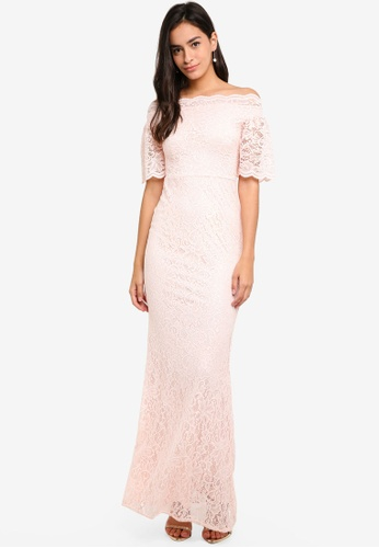 Goddiva pink Bardot Lace Maxi Dress With Bell Sleeves 9D48CAACA45D6EGS_1