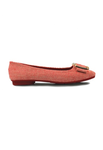 SHINE red Square Toe Buckle Embellished Flats 441C8SH396F493GS_1