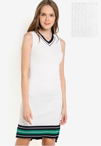 Megane white Vyann V-neck Knit Dress ME617AA05HGKMY_1