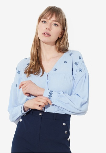 Trendyol blue Embroidered Detailing Button Down Blouse D5D46AA058CAB7GS_1