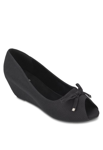 蝴蝶結露趾楔型esprit hk分店鞋, 女鞋, 鞋