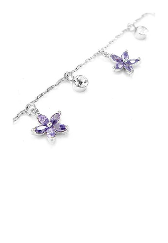 Glamorousky purple Elegant Flower Anklet with Silver and Purple Austrian Element Crystals CD510ACAF31FFCGS_1