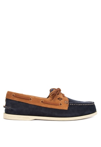 Sperry brown and navy A/O 2-Eye Washable Boat Shoes 2AD96SH71AFC87GS_1
