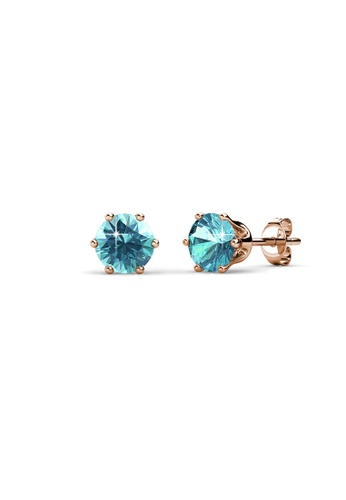 Her Jewellery blue and gold Birth Stone Earrings (December, Rose Gold) - Made with premium grade crystals from Austria 2D756ACD0D769EGS_1