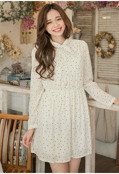 [IMPORTED] Gently Retro Dots Chiffon Dress - White
