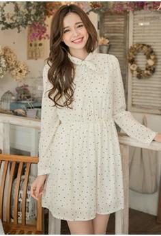 [IMPORTED] Gently Retro Dots Chiffon Dress - White