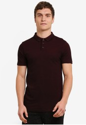 Topman red Tipped Muscle Fit Polo TO413AA0S7Y6MY_1