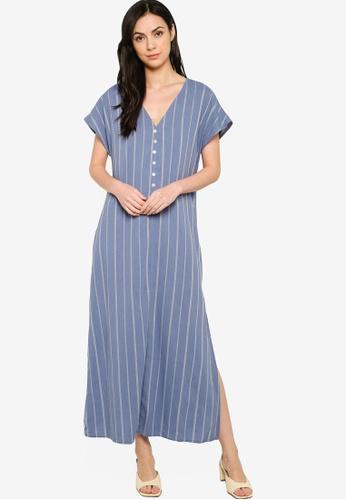 ZALORA BASICS blue Button Down Short Sleeve Maxi Dress 95B17AA440CDE5GS_1