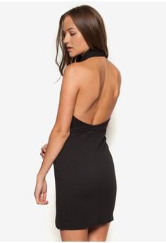 Plunge Halterneck Mini Dress