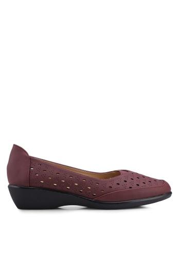 Noveni 紅色 雕花楔型鞋 898EASHD0D72A2GS_1