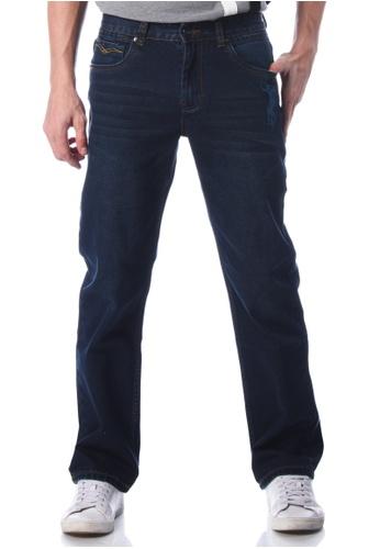 POLO HAUS blue Polo Haus - Straight Cut Jeans (Dark Blue) PO783AA80JNZMY_1