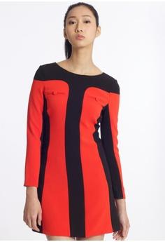 c06f2e48cd Missy Stella black Vertical Colorblock Shift Dress 82234AA4D5F29EGS 1