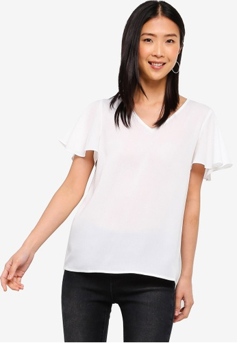 ZALORA BASICS white Basic Wide Sleeves Blouse 17DAAAAEAD13F2GS_1