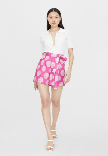 Pomelo pink Shell Print High Waist Shorts - Pink 874B4AAC337FA3GS_1