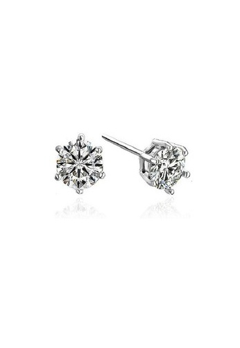 Vivere Rosse silver Classic Solitaire Six Prong Stud Earrings - 925 Sterling Silver VI014AC16ZUXMY_1