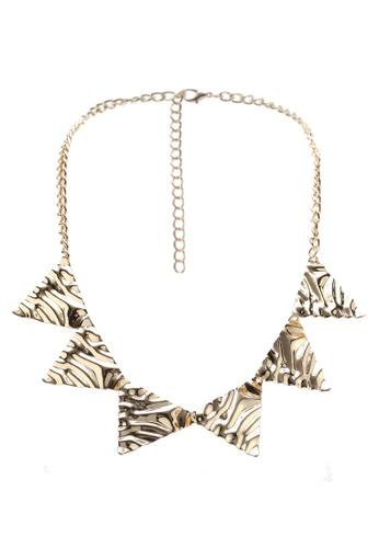 Red's Revenge gold Molten Gold Triangles Bib Necklace F5D41AC4BFA3FFGS_1