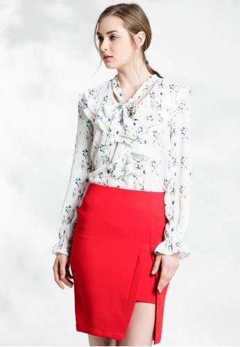 Les Premieres white Floral Bowtie Wavy Collar Shirt 087D9AAC82C0C1GS_1