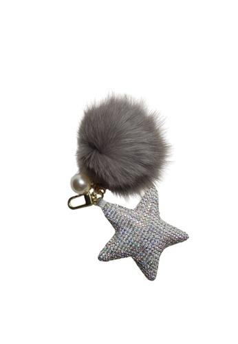 Loveaisyah 灰色 Star Grey Pom Pom Keychain X'mas Gift 53B44ACFD65518GS_1