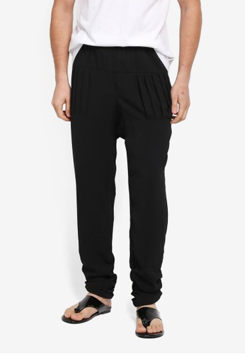 Rizalman for Zalora black Cholan Pleated Pants RI909AA0SF0MMY_1