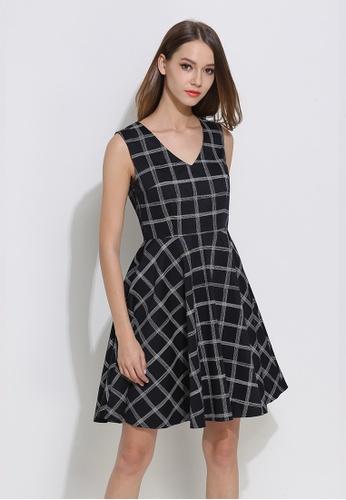 Sunnydaysweety black Sleeveless HK Designer 's Plaid V - Neck Vest One -Piece Dress 3096BAA1658E5CGS_1