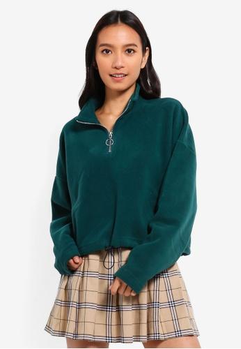 Factorie green Crop Quarter Zip Polar Fleece Top A5327AAB3BE017GS_1