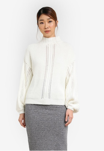 Miss Selfridge white Pointelle Sleeve Funnel Neck Jumper MI665AA0SHV2MY_1
