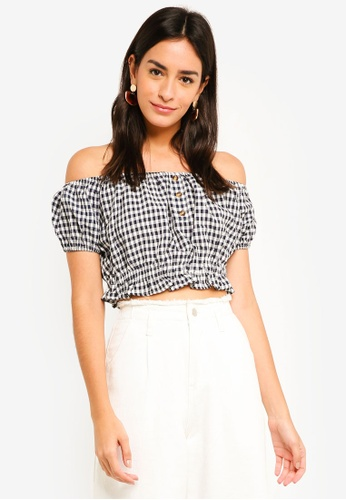 MDSCollections multi Nahla Cropped Top In Midnight Gingham 055ABAA6EFDBDBGS_1