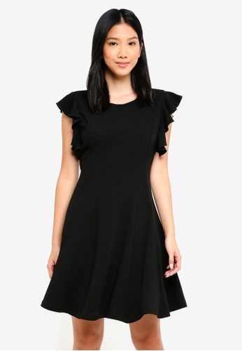 ZALORA black Ruffle Sleeve Belted Fit And Flare Dress DB284AAC4DD513GS_1