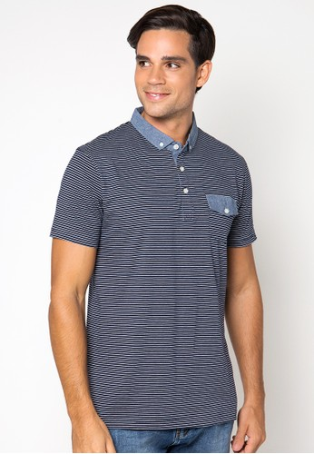 Yarn Dye Stripe Polo Shirt With Combo Denim At Kragh, Plaket And Pocket Flap