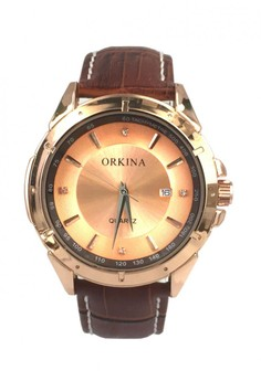 Orkina Men's Leather Strap Watch