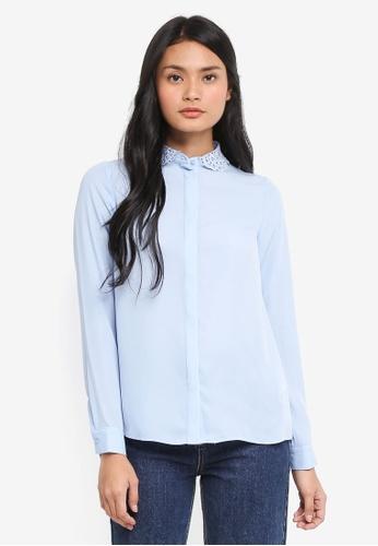Dorothy Perkins blue Blue Lace Collar Shirt 631DAAA68E9F28GS_1