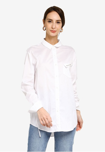 Hopeshow white Long Sleeve Shirt with Chest Pocket Embroidery B6F3AAA7B8B0E8GS_1