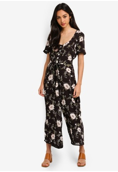 b19de2b6006 Miss Selfridge black Black Floral Print V Neck Button Through Jumpsuit  13399AA63C520CGS 1