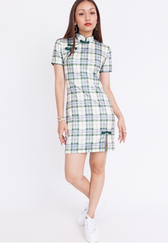 Hook Clothing green and multi Plaid Print Cheongsam 98363AAB6EBC53GS_1