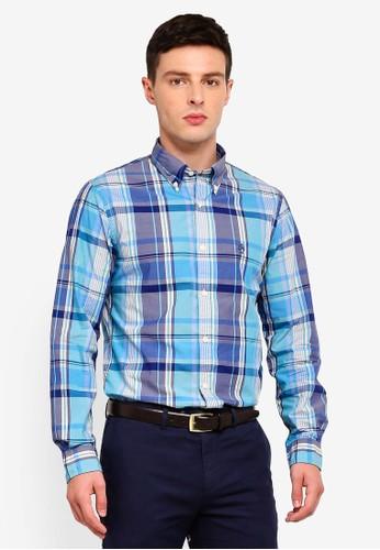 Brooks Brothers blue and multi Red Fleece Madras Plaid Cotton Poplin Sport Shirt 3E96CAAF11F152GS_1