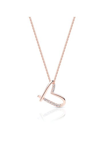 Crudo Leather Craft pink Le Infinità Dancing Heart Necklace - Rose Gold E43EBAC9E853C7GS_1