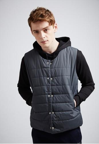 潮流街頭。esprit taiwan厚鋪棉。保暖百搭背心(兩穿式)-07386-灰色, 服飾, 背心外套