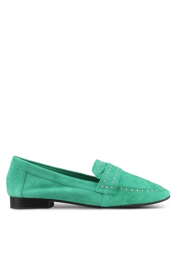 River Island green Suede Studded Loafers 226AFSHE978703GS_1