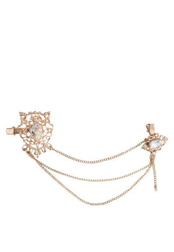 金屬鏤空閃鑽鏈飾髮夾, 飾esprit 內衣品配件, 髮飾
