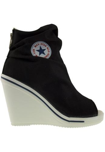 Maxstar black Maxstar Women's 777 Open Toe High Wedge Heel Canvas Ankle Sneakers US Women Size MA164SH18PTPSG_1