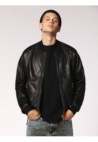 Diesel black L-Pins Full Zip Leather Jacket 509FBAAE97605CGS_1